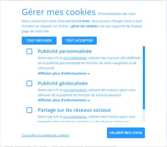 Bandeau cookies RGPD conforme aux thématiques CNIL